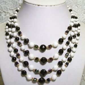 R-1770 Vintage Black & White 4 Strand A.B Glass Be